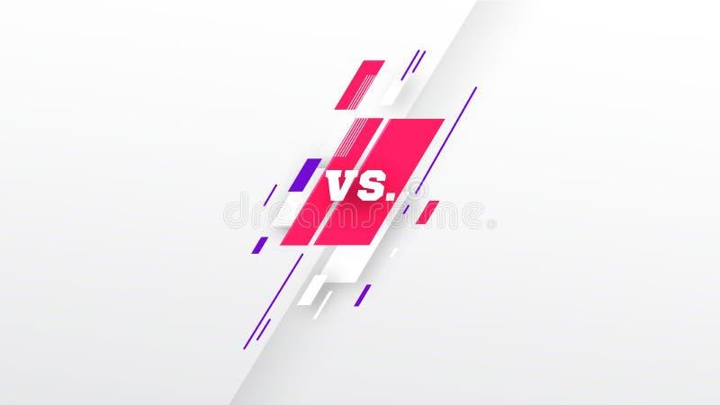 CONTRE Verticale contre la conception d'écran à l'arrière-plan blanc Couleur rose pourpre Bataille, calibre de titre de sport lig illustration libre de droits