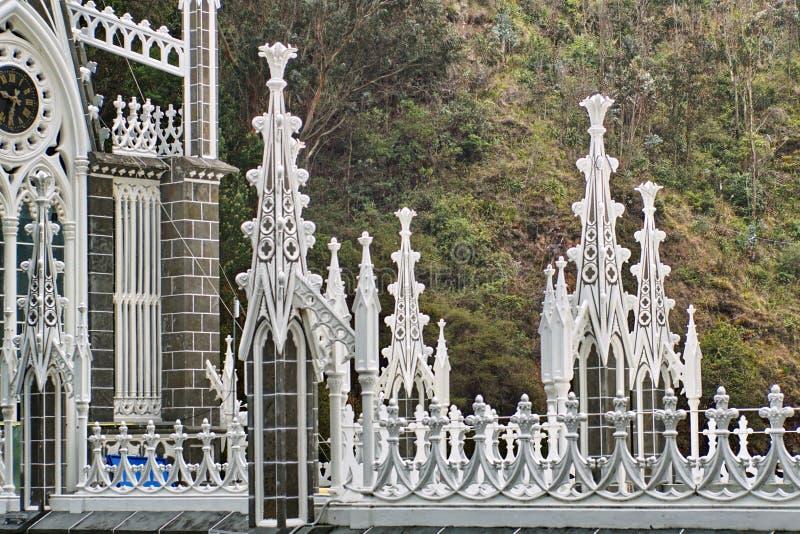 Contreforts de vol sur la cathédrale de Las Lajas image stock