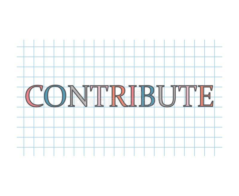 Contribua a palavra na textura de papel quadriculado ilustração royalty free