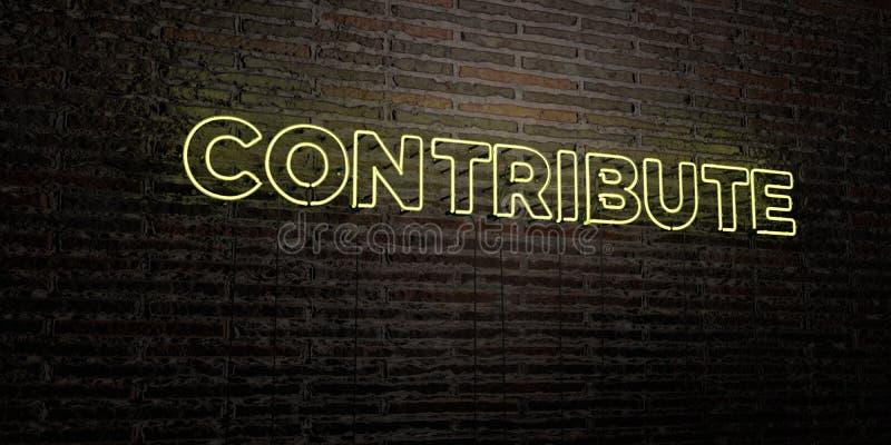 CONTRIBUEZ - enseigne au néon réaliste sur le fond de mur de briques - l'image courante gratuite de redevance rendue par 3D illustration libre de droits