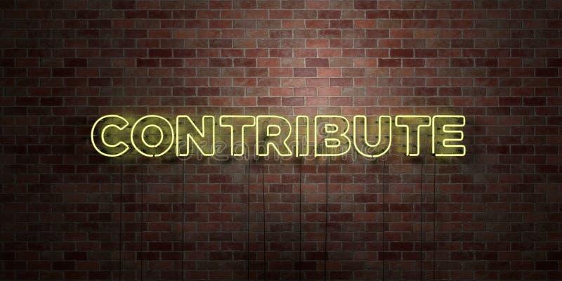 CONTRIBUEZ - le tube au néon fluorescent se connectent la brique - la vue de face - photo courante gratuite de redevance rendue p illustration libre de droits