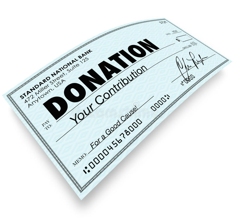 Contribuição do presente do dinheiro da palavra da verificação da doação ilustração do vetor