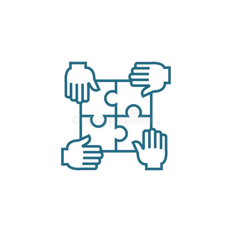 Contribuição para o conceito linear do ícone da causa comum Contribuição para a linha sinal da causa comum do vetor, símbolo ilustração royalty free