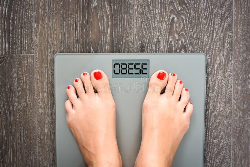 Contribuisca a perdere i chilogrammi con i piedi della donna che fanno un passo su una bilancia fotografie stock