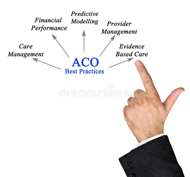 Contributions of  ACO Best Practices. Five Contributions of  ACO Best Practices royalty free stock photos
