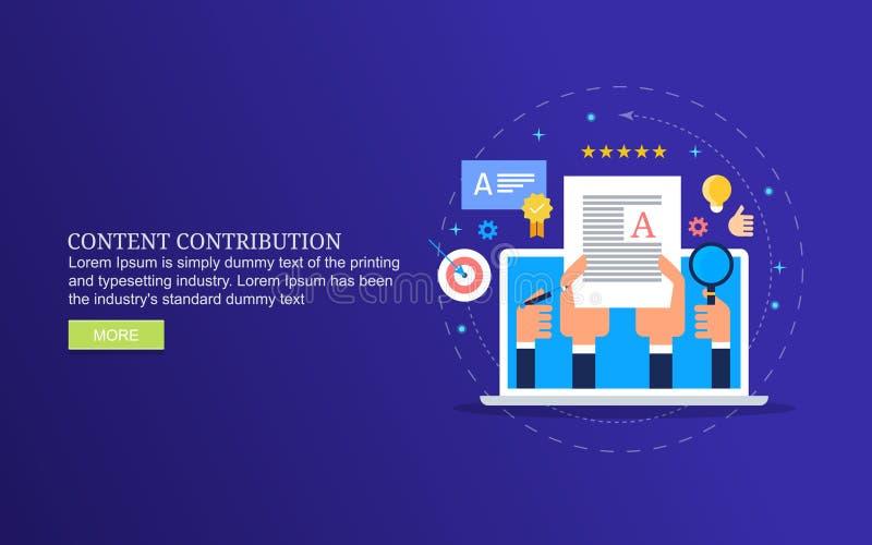 Contributo contento, creante il post del blog per la rivista online, creazione contenta e pubblicazione royalty illustrazione gratis