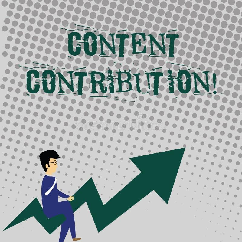Contributo contento di scrittura del testo della scrittura Contributo di significato di concetto di informazioni a qualsiasi medi illustrazione vettoriale