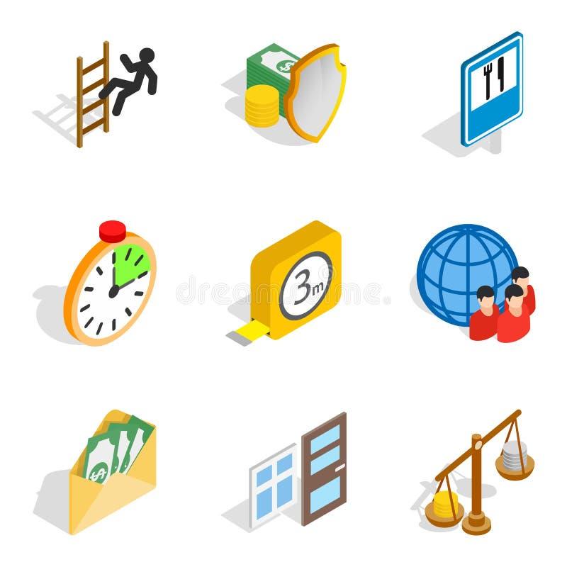 Contribuya los iconos fijados, estilo isométrico ilustración del vector