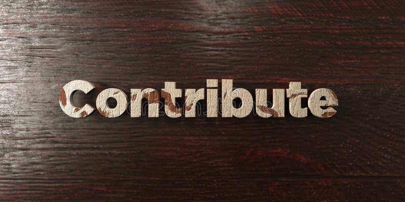 Contribuya - título de madera sucio en arce - la imagen común libre rendida 3D de los derechos ilustración del vector