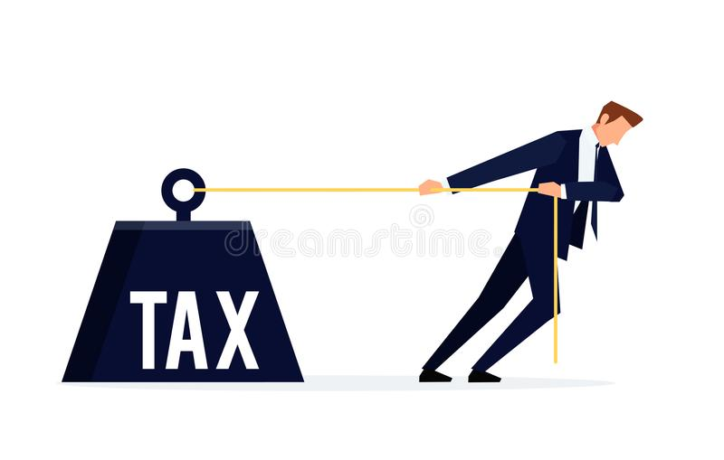 contribuyente El hombre de negocios está tirando de un peso enorme con un impuesto stock de ilustración