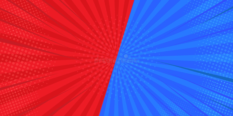 CONTRO gli ambiti di provenienza combattenti di confronto nei precedenti piani dei fumetti In rosso ed in blu Progettato dal semi illustrazione di stock
