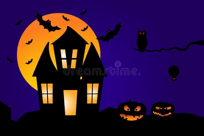contro i blocchi Halloween completo ha frequentato la scena della zucca della luna della casa Illustrazione di una Camera frequen illustrazione di stock