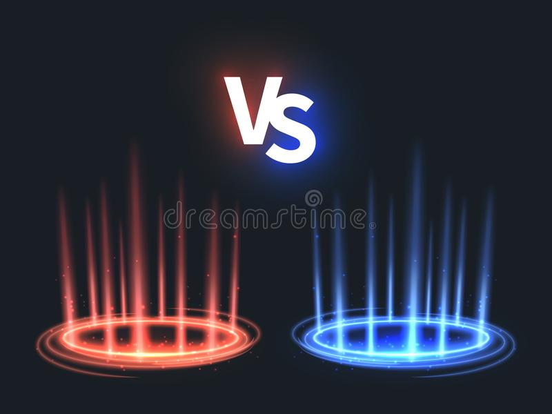 Contro l'ardore teletrasporti l'effetto sul pavimento Contro la scena di battaglia con i raggi e le scintille Vettore soprannatur illustrazione vettoriale