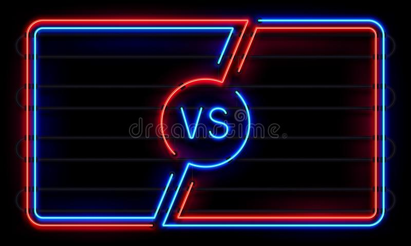 Contro la struttura al neon Metta in mostra le linee d'ardore insegna di battaglia, CONTRO il segno di duello Il gruppo di lotta  royalty illustrazione gratis