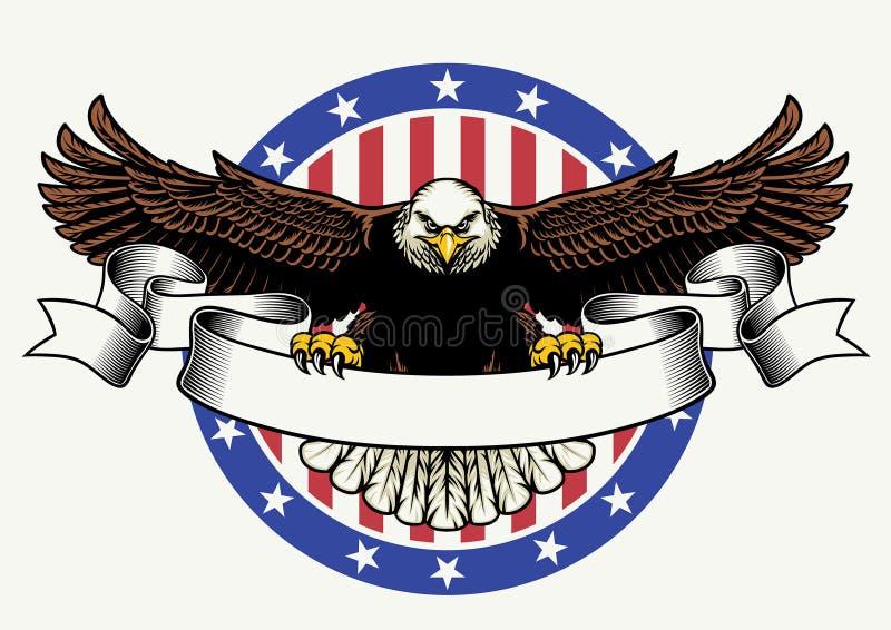 Control americano del águila calva la cinta en blanco para el texto ilustración del vector