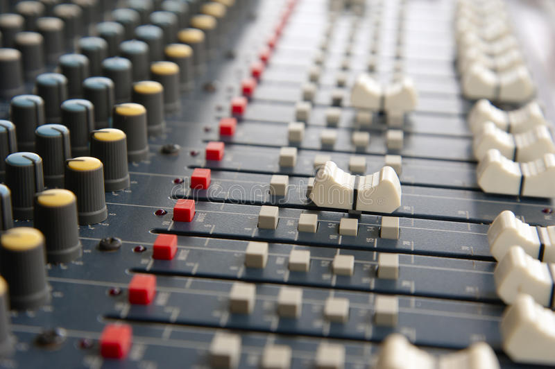 Control of analog mixer . Soft focus stock images