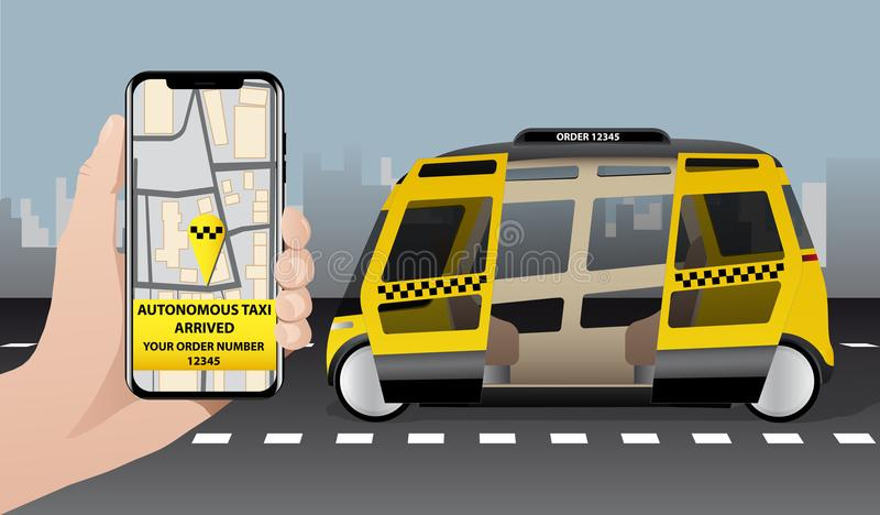 Control of autonomous taxi by mobile app. royalty free illustration