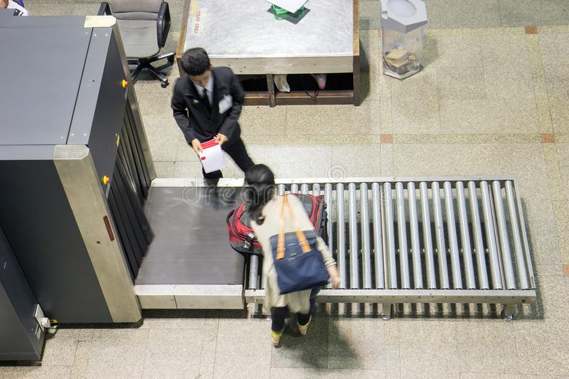 Control baggage at the airport. stock image