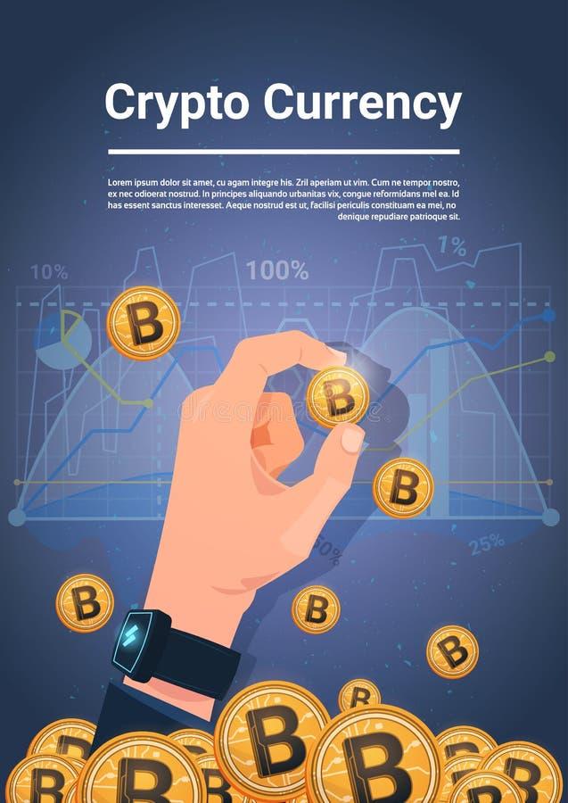 Control Bitcoin de oro de la mano sobre concepto Crypto de la moneda de Digitaces del fondo de las cartas y de los gráficos ilustración del vector