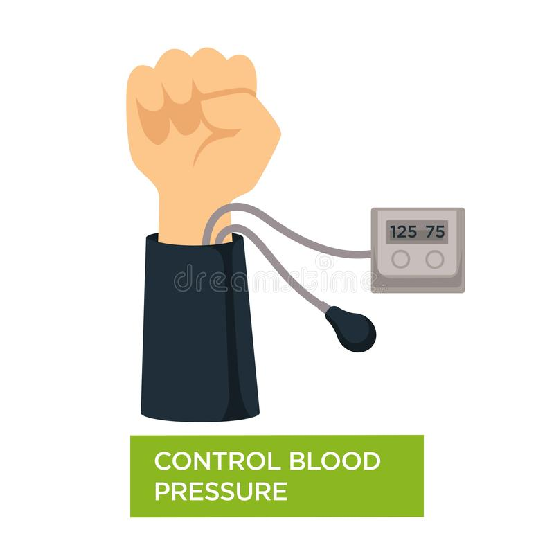 Control blood pressure heart health check cardiology vector illustration