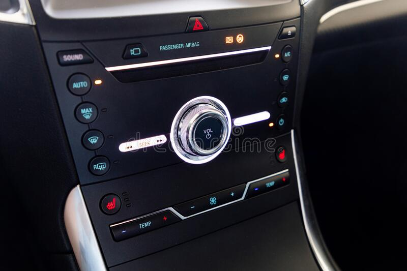 Control buttons in a car stock image