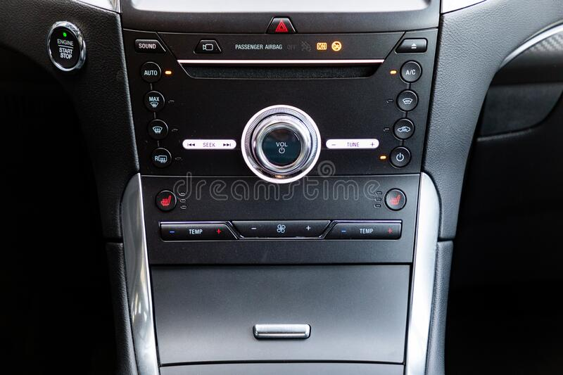 Control buttons in a car stock photography