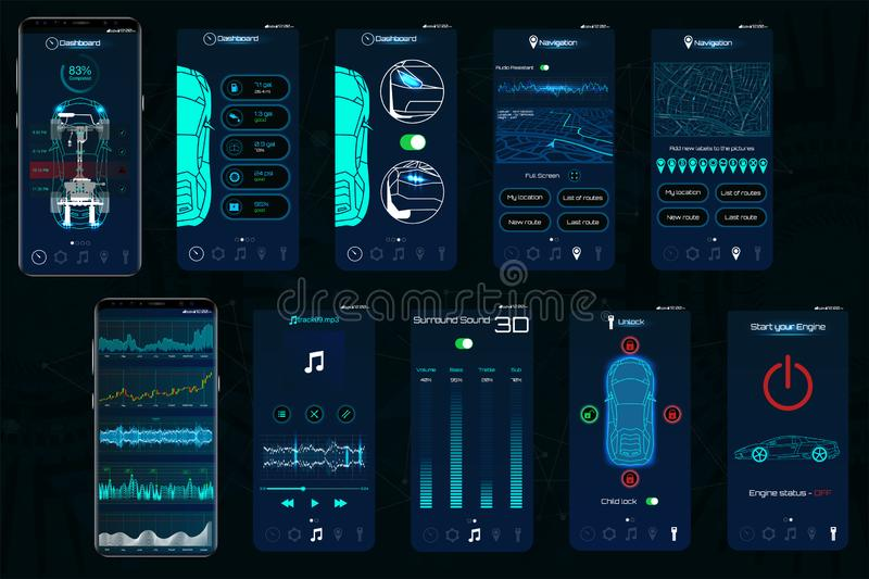 Control Car app. Mobile interface screens to operate the car. The smartphone controls the car security on the wireless and shows the data to the owner, the royalty free illustration