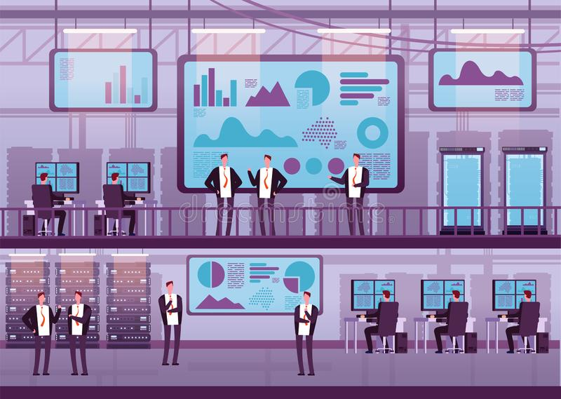 Control center. Business people working with computers big monitor. Brokers trading on stock exchange in datacenter. Vector concept broker people, market vector illustration