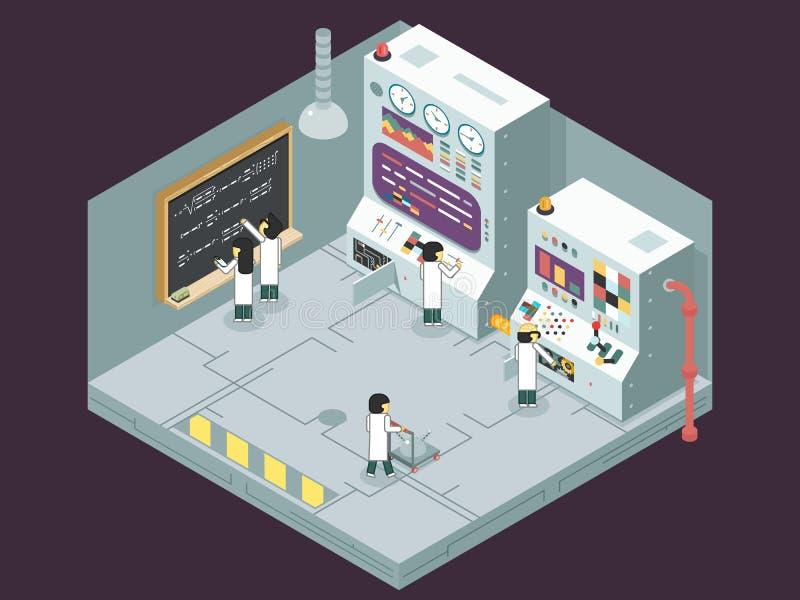 Control científico del trabajo de los científicos de la experiencia del experimento del laboratorio ilustración del vector