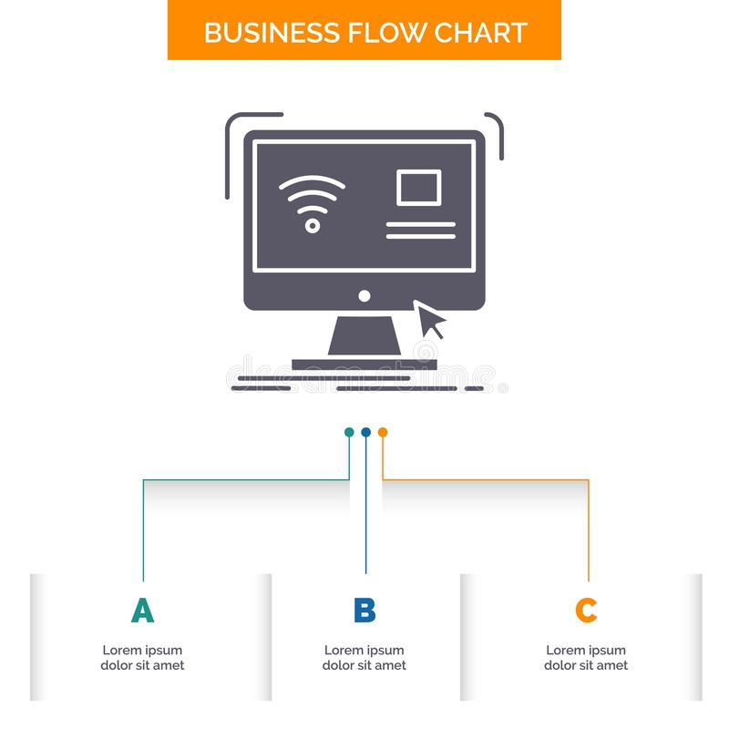 Control, computer, monitor, remote, smart Business Flow Chart Design with 3 Steps. Glyph Icon For Presentation Background Template. Place for text.. Vector vector illustration