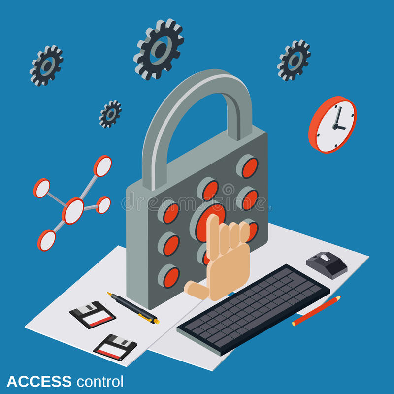 Control de acceso, concepto del vector de la seguridad informática stock de ilustración