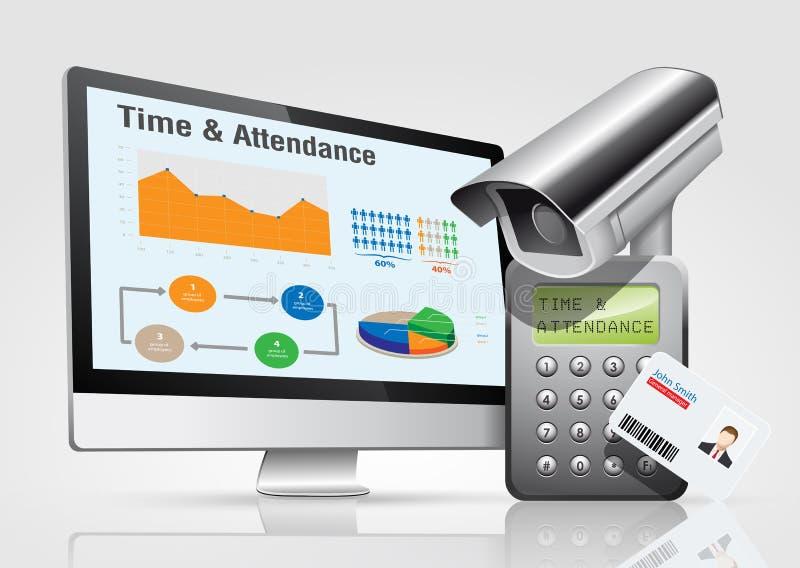 Control de acceso - tiempo y atención 1 stock de ilustración