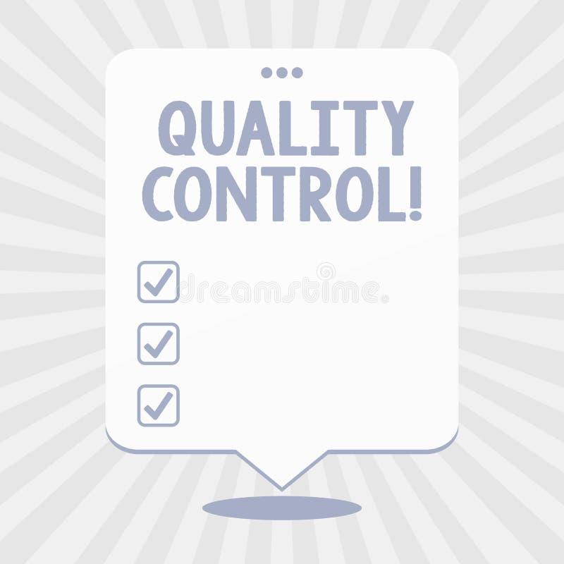 Control de calidad del texto de la escritura de la palabra Concepto del negocio para el sistema de est?ndares que mantienen en pr libre illustration
