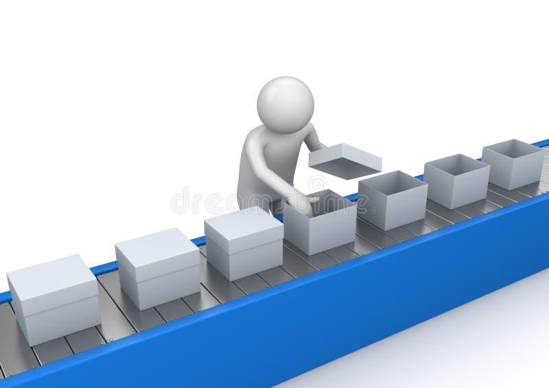 Control de calidad del transportador - trabajadores stock de ilustración