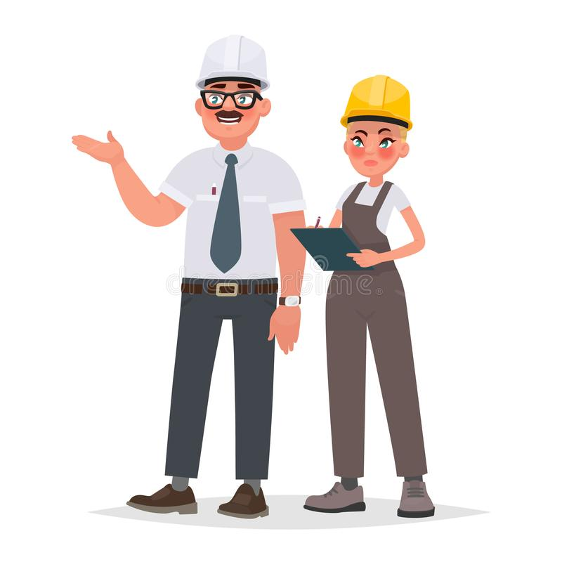 Control de calidad de la construcción de edificios, inspección en el producti stock de ilustración