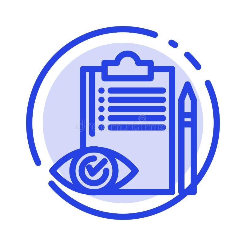 Control de calidad, reserva, lista de control, control, línea de puntos azul línea icono del plan ilustración del vector