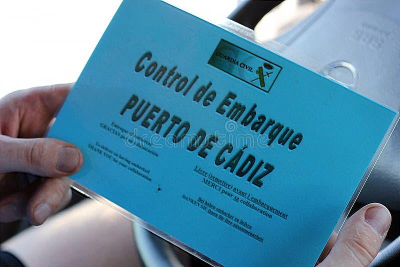 Control de embarque en el puerto de Cádiz, España fotos de archivo libres de regalías
