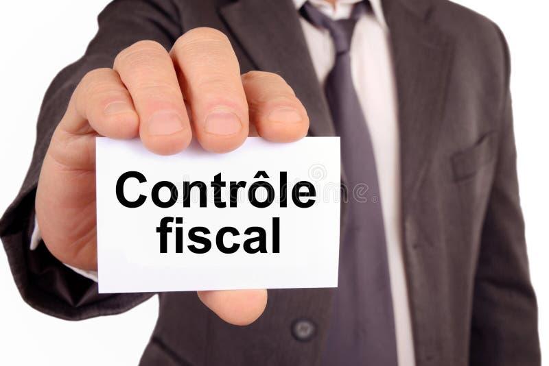 Control de impuesto escrito en francés en una tarjeta ilustración del vector