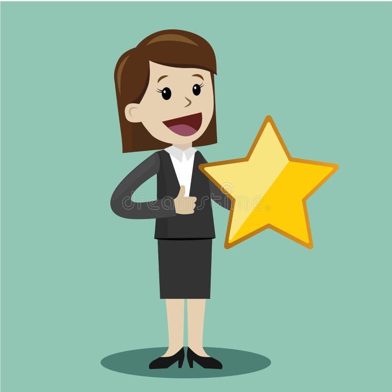 Control de la empresaria una estrella grande del oro Victoria, valorando stock de ilustración