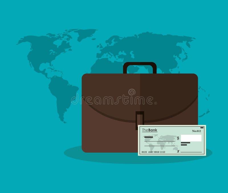 Control de la maleta y mapa del concepto del dinero stock de ilustración