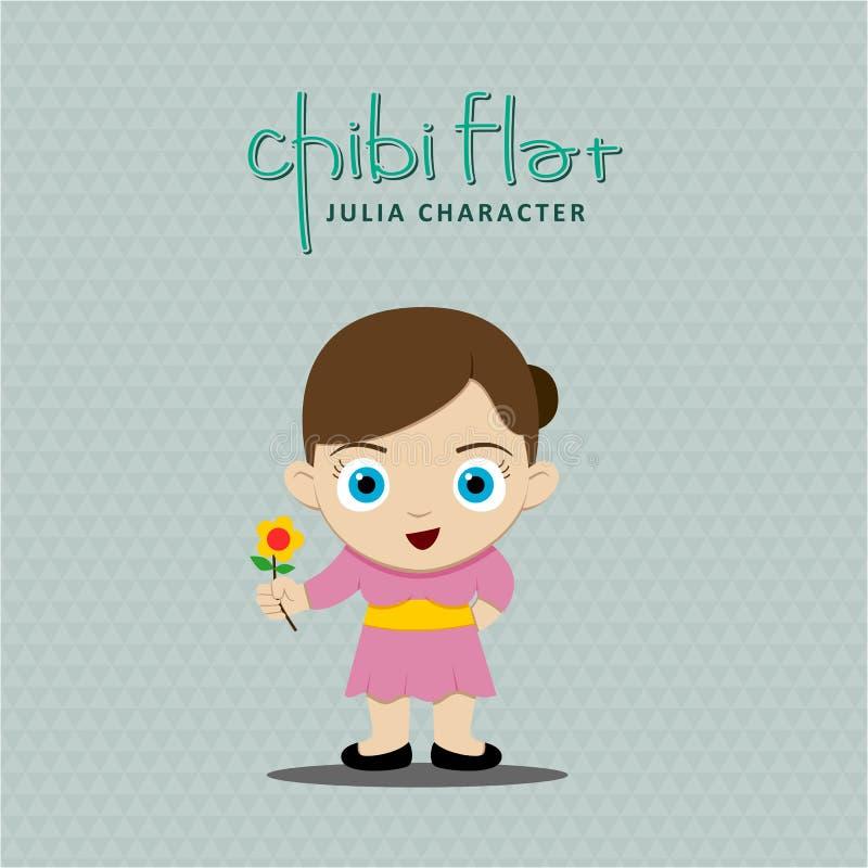 Control de la muchacha una flor ilustración del vector