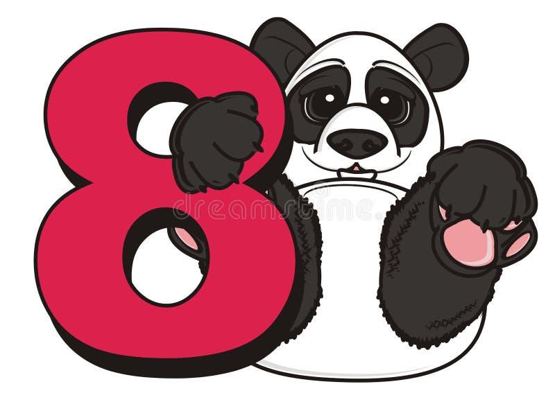 Control de la panda un número rojo ocho stock de ilustración
