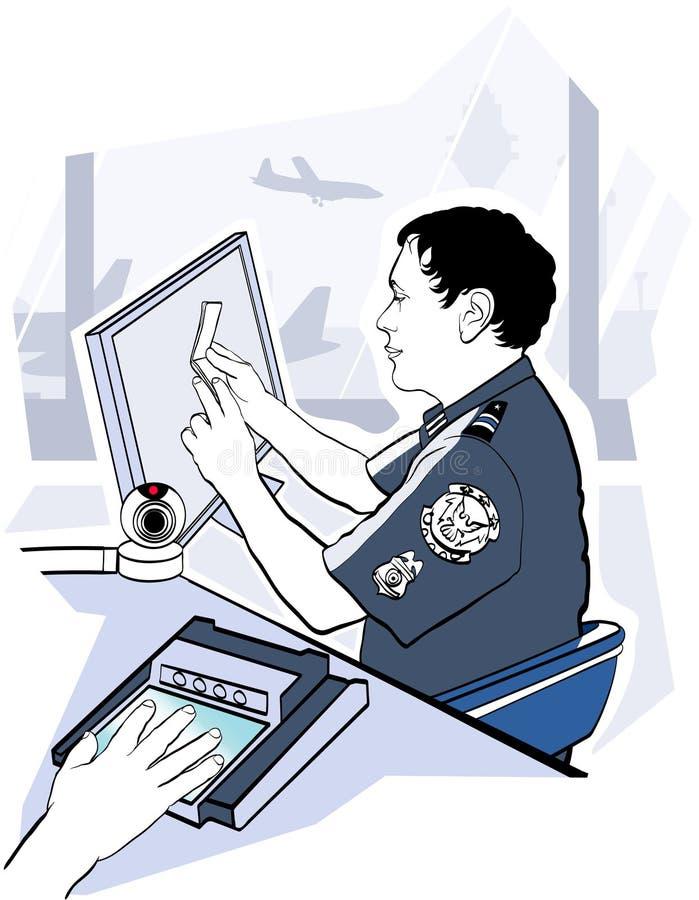 Control de la verificación del pasaporte en el aeropuerto libre illustration