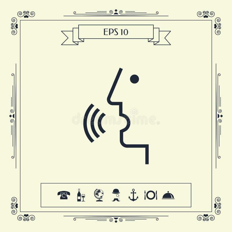 Control de la voz, persona que habla - icono ilustración del vector