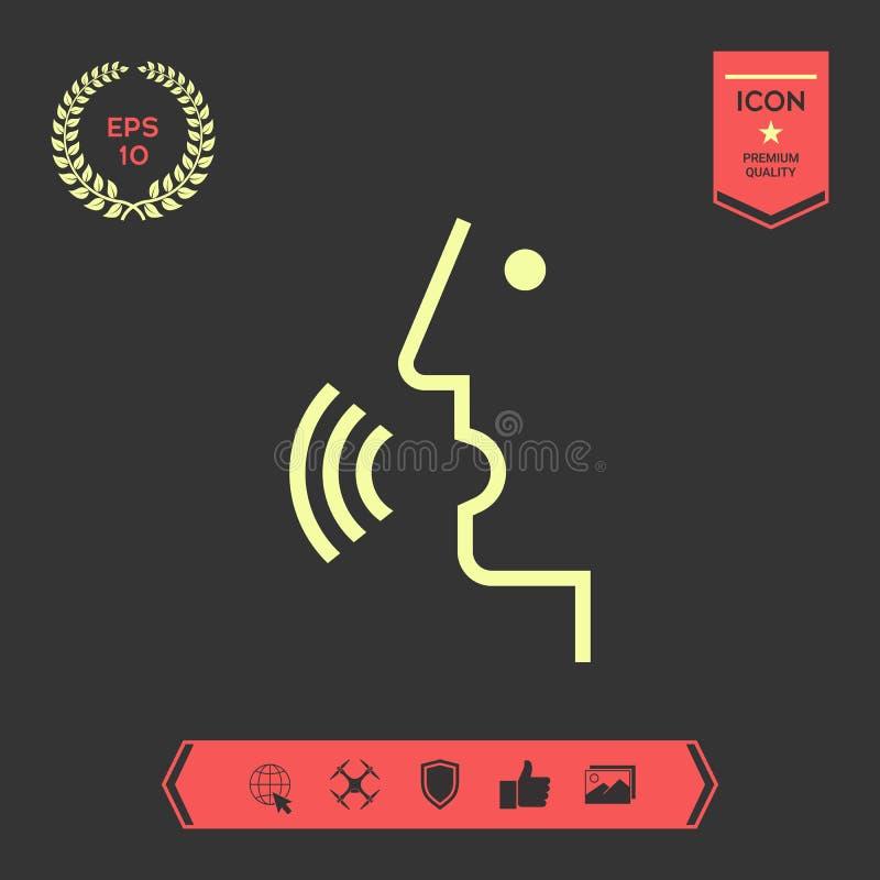 Control de la voz, persona que habla - icono Elementos gráficos para su diseño stock de ilustración