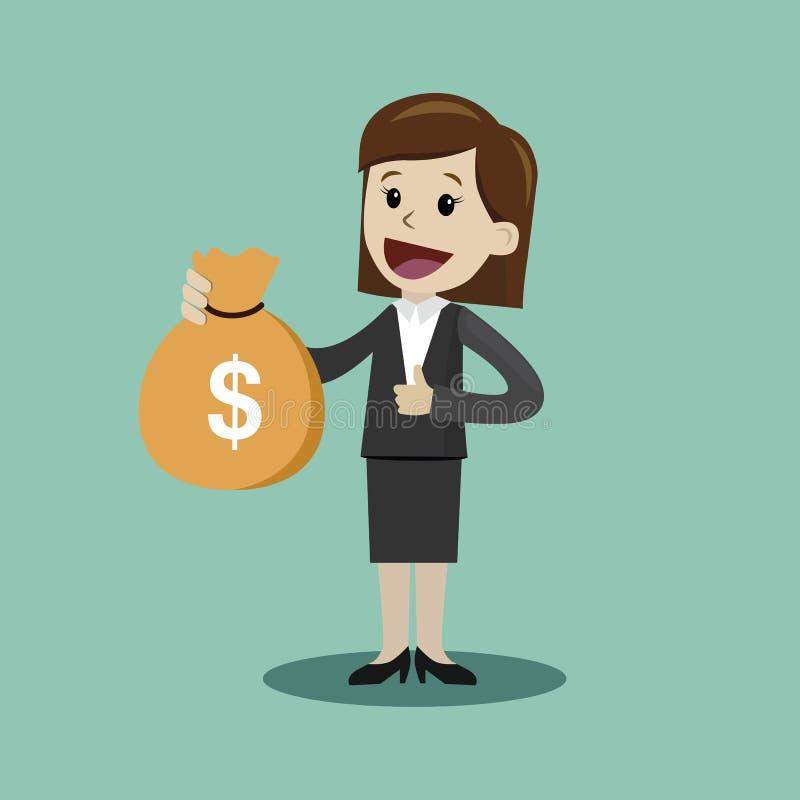 Control de Lucky Businesswoman o del encargado un bolso del dinero El hombre de negocios tiene un beneficio stock de ilustración