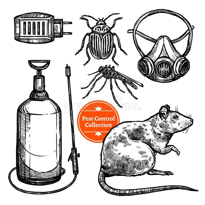 Control de parásito dibujado mano del bosquejo libre illustration