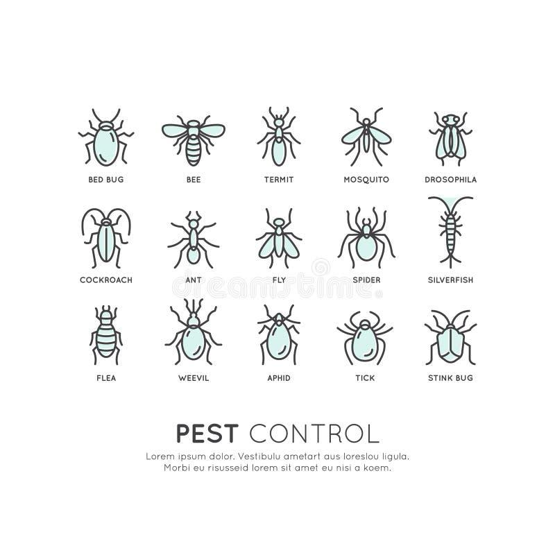 Control de parásito, higiene alimenticia, legislación y autoridad local, protección del virus de la infección del peligro libre illustration