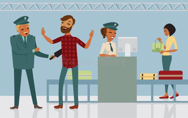 Control de seguridad en el aeropuerto stock de ilustración