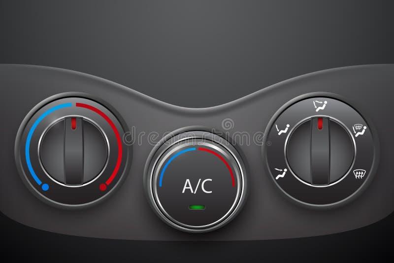 Control del clima del coche con el botón de la condición del aire ilustración del vector
